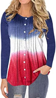 Macondoo Womens Casual Button Down Ombre Blouse Long Sleeve Ruched T-Shirts