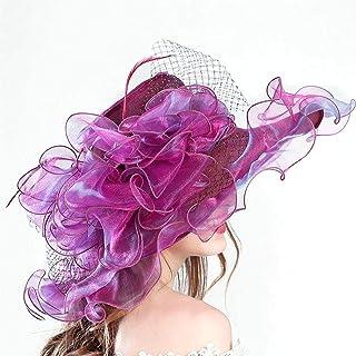COMVIP Women Ruffles Wide Brim Summer Organza Beach Foldable Sun Hat