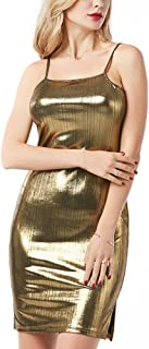 Women Metallic Spaghetti Strap Bodycon Dress Sexy Evening Dress for Rave Party Cocktail Clubwear