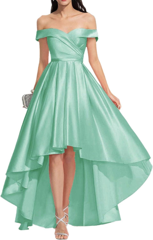 GTGY Women's 永遠の定番 別倉庫からの配送 Off Shoulder High Low Eveni Satin Prom Dresses Long