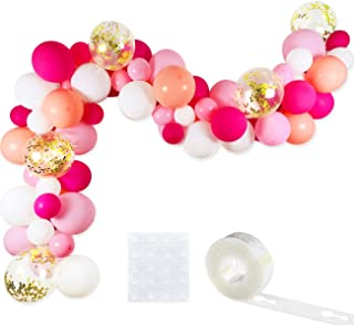 Pink Balloon Garland Kit, 75 Pack 12inch 5inch Hot Pink Coral Blush Baby Pink Rose Red White Gold Confetti Balloons Arch Strip Set for Baby Shower Wedding Flamingo Girl Birthday Party Decorations