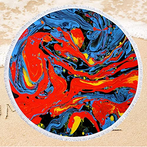 IAMZHL Toalla de Playa Redonda de Microfibra con Estampado de 150 cm Toalla de baño Suave para Nadar con Borla Toalla de Playa de Verano-a30-Diameter 150cm