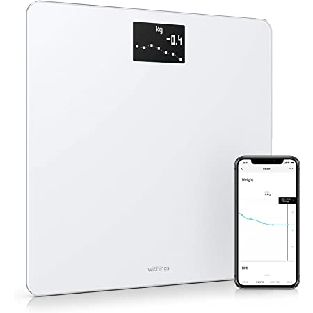 Withings Body - Digital Wi-Fi Smart Scale with Automatic Smartphone App Sync, Body Fat, BMI, Multi-User Friendly, with Pregnancy Tracker & Baby Mode