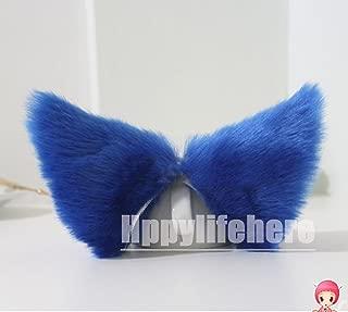 Hot Sweet Lovely Anime Lolita Cosplay Fancy Neko Cat Ears Hair Clip Royal Blue with Pink Inside