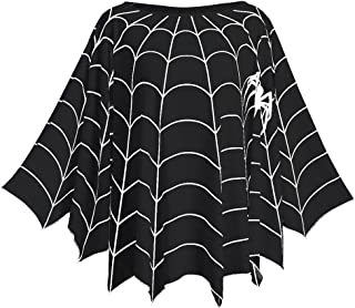 CHARMMA New Women's Plus Size Long Sleeve Spider Web Printed Poncho Top Blouse