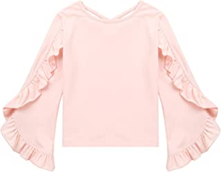 iiniim Kids Girls Youth Cotton Flared Long Sleeve Cross Back Shirt Ruffle Bat T-Shirt Tops Spring Fashion Blouses
