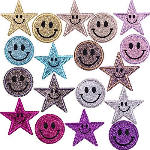 GloBal Mai Aufnäher Kinder Bügelflicken-Set - Garment Crafts DIY Dekorativer Patches Set,Schmetterlingen, Blumen, Rosen, Smileys, fünfzackigen Sternen, runden Schildern. (Color 1)