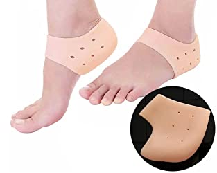 Purastep Silicone Gel Heel Pad Socks for Pain Relief for Men and Women (Beige, Free Size) - 1 Pair