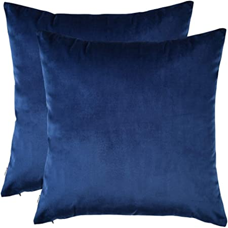 Artcest Set Of 2 Cozy Solid Velvet Throw Pillow Case Decorative Couch Cushion Cover Soft Sofa Euro Sham With Zipper Hidden 18 X18 Royal Blue Home Kitchen
