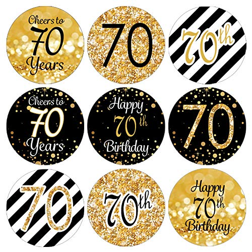 DISTINCTIVS 70th Birthday Party Favor Stickers - Gold and Black (Set of 324)