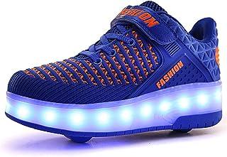 QHGao Gladde ronde schoenen, kleurrijke LED-lichtschoenen, USB-oplaadsneakers, enkelwielige automatische heren- en damessc...