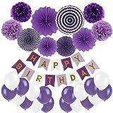 Cocodeko Pancartas de Banderines de Happy Birthday con Pom Poms y Ventilador de Papel Bola de la Flor y 20 Piezas Globos de Fiesta para Decoración de Fiesta - Morado