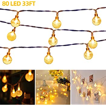 33 FT 80 LED Globe Ball String Lights Fairy String Lights Decor for Indoor Bedroom Curtain Patio Holiday Outdoor Party Wedding Christmas Tree Garden Lawn Landscape Tree with Remote Warm White