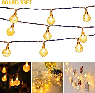 33 FT 80 LED Globe Ball String Lights Fairy String Lights Decor for Indoor Bedroom Curtain Patio Holiday Outdoor Party Wed...