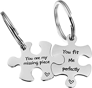 Valentine's Day His and Hers Puzzle Piece Pendant Necklace Keychain Set Personalized Couples Stamped Chain Keyring