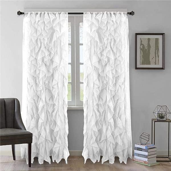 DiamondHome 1 Panel Waterfall Shabby Chic Sheer Ruffled Curtain Panel White 50 X 63