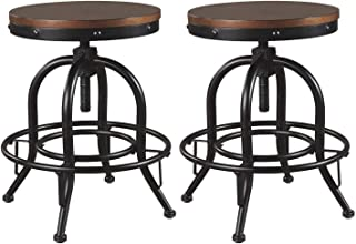 Signature Design By Ashley - Valebeck Swivel Barstool - Set of 2 - Casual Style - Black/Brown