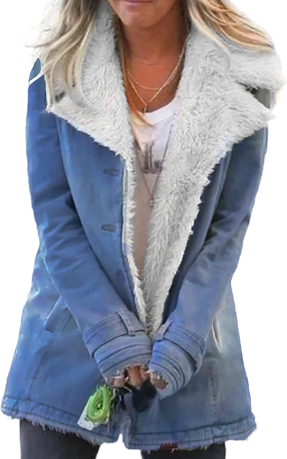 Dokotoo Import Womens Winter Warm Jean Jacket Wool Bombing free shipping Collar Stand Liner S