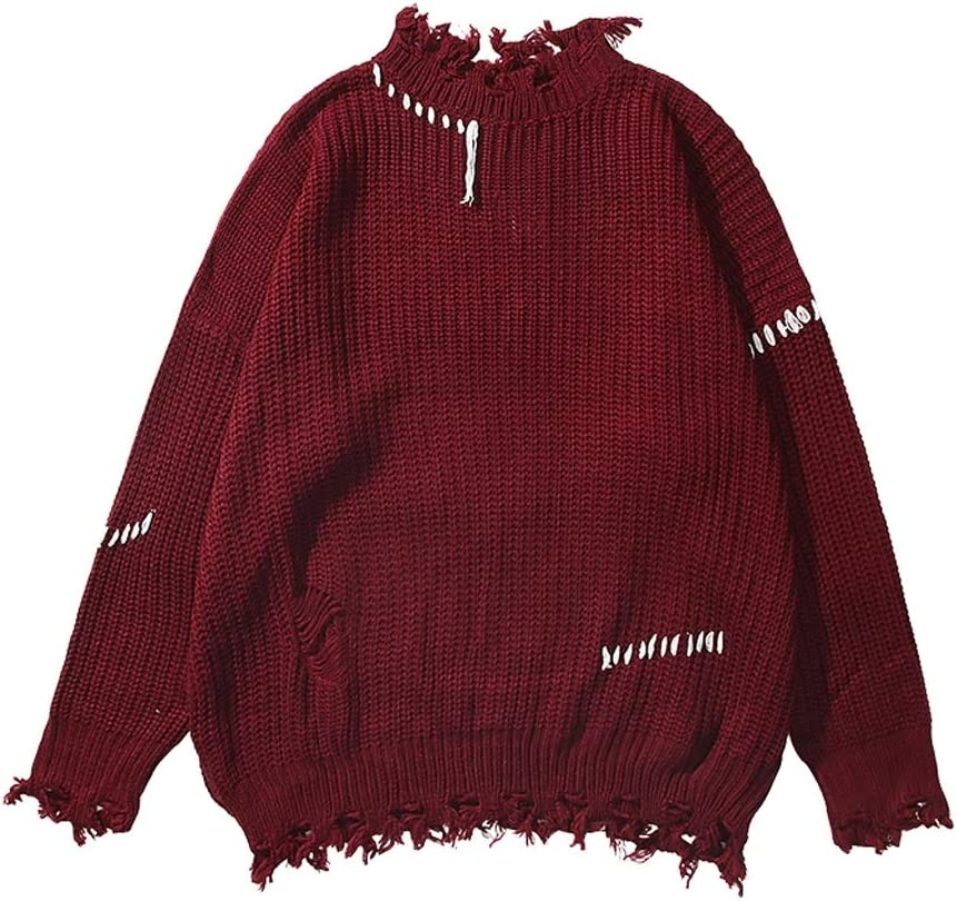 ZYING Ripped Solid Color Sweater Men Pullover Knitwear Men's Sweater Winter Streetwear Clothing (Size : M-length-70CM)