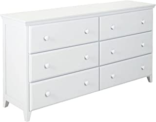 Max & Lily Solid Wood 6-Drawer Dresser, White