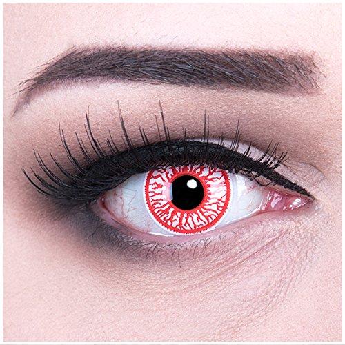 Farbige rote Kontaktlinsen ohne Stärke crazy Kontaktlinsen crazy contact lenses Blood Shot blutige augen 1 Paar. Mit Linsenbehälter + 60ml Pflegemittel