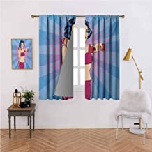 Fitness Soft Curtain Pop Art Woman Figure Doing Exercises with Dumbbells Healthcare Vitality Retro Style Darkening and Thermal Insulating 72