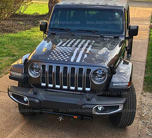 Skull Daddy Graphics Distressed Flag Hood Decal Sticker to fit Jeep Wrangler JL JK JKU 2007-2020 (Metallic Silver)