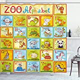 Ambesonne Science Shower Curtain, Zoo Alphabet Design Colorful Style Funny Cartoon Animals, Cloth Fabric Bathroom Decor Set with Hooks, 70' Long, Green Yellow