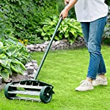 HAPPYGRILL Rolling Lawn Aerator 18-inch Garden Yard Rotary Push Tine...