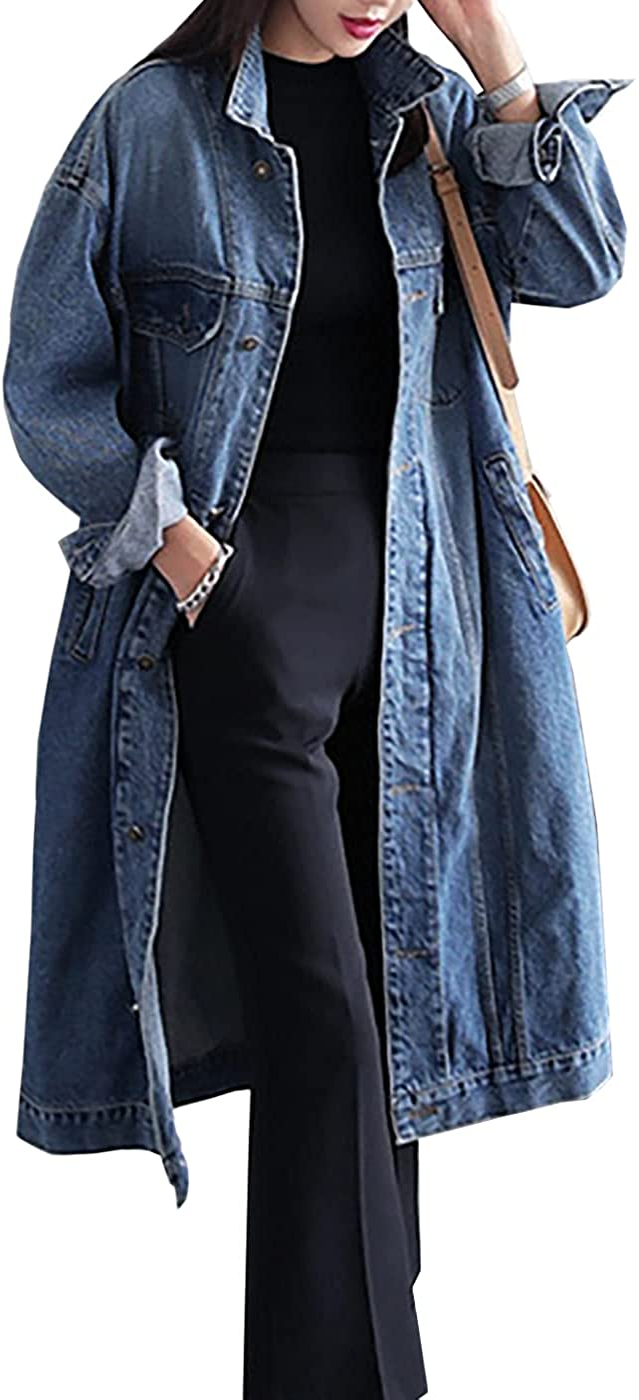 Jofemuho Womens Classic Long Jean Jacket Plus Size Loose Long Sleeve Button Down Denim Jacket Trench Coat