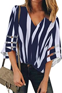 SZIVYSHI 3/4 Sleeve Deep V Neck Bell Trumpet Flared Flare Sleeve Sheer Mesh Spliced Contrast Color Colorblock T-Shirt Blouse Shirt Top
