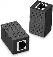 UGREEN RJ45 Coupler 2 Pack in Line Coupler Cat7 Cat6 Cat5e Ethernet Cable Extender Adapter Female to Female (Black)