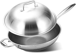 ZLJ Poêle antiadhésive Wok 304 en Acier Inoxydable Anti-fumée marmite avec Couvercle utilisée pour cuisinière à Induction ...