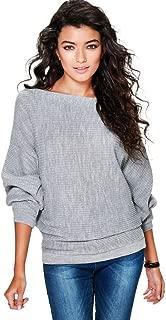 kaifongfu Women Sweater, Batwing Sleeve Knitted Pullover Loose Sweater Jumper Tops Knitwear