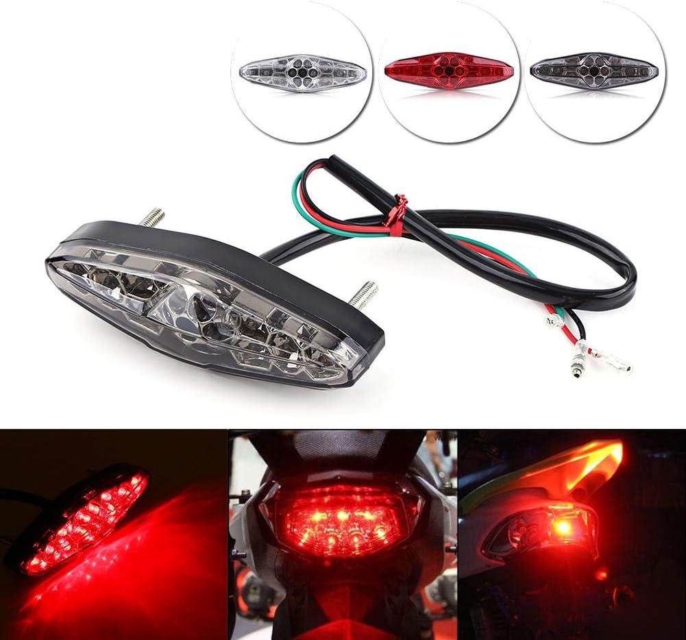 12V 15 LED Motorcycle Brake Tail Light Rear Light ATV Dirt Bike Universal Smoke Suuonee Brake Tail Light Red