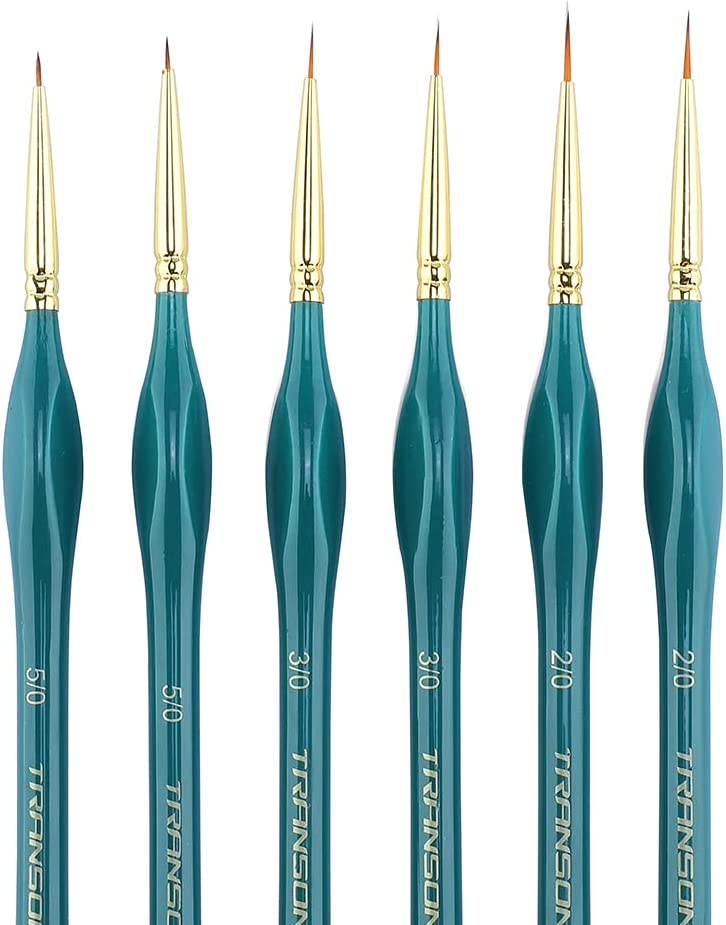 Transon Detail Thin Paint Brush Set 6pcs for Model Minature Craft and Art Painting