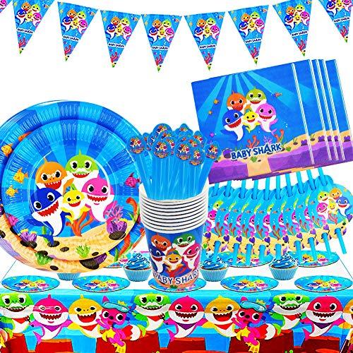 BESLIME Shark Party Supplies Set Shark Party Geschirr Shark Party Teller Pappbecher, Tischdecke, Banner für Kinder Geburtstag Baby Shower Dekorationen - Für 10 Gäste, 82St