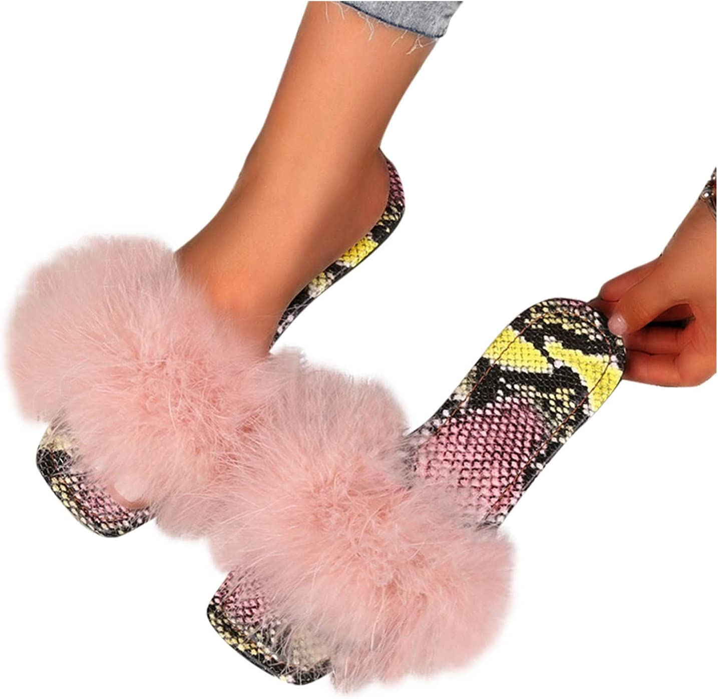 Olymmont Flat Sandals for Women Summer Fluzzy Feather Snakeskin Leopard Printed Square Toe Slippers Slip-on Furry Fashion Dressy Sexy Slides (Pink, 8.5)