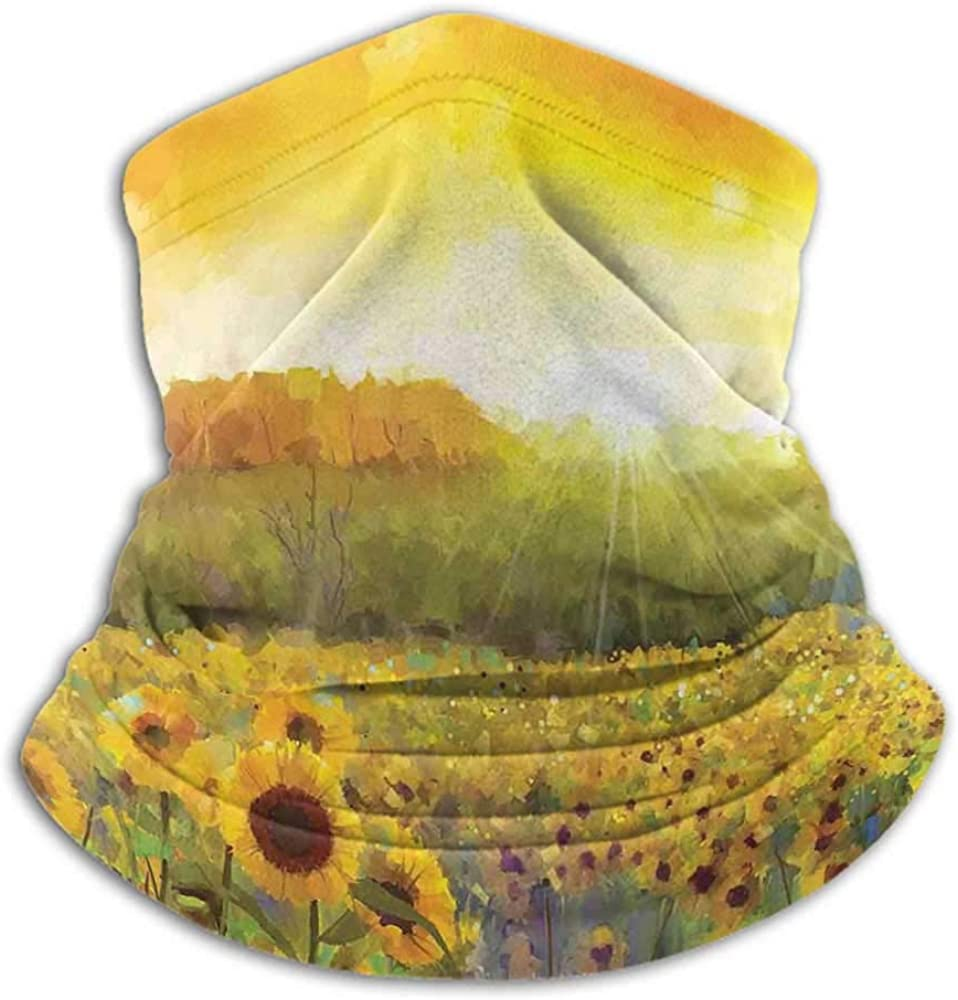 Face Scarf Mask Women Sunflower Decor Cold Weather Face Motorcycle Scarf Landscape Art with A Golden Sunflower Field and Distant Hill At Sunset Warm Colors Orange Yellow