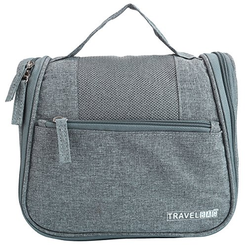 Women's Travel Toiletry Bag, CozyCabin Portable Cosmetic Toiletry Organizer, Waterproof Hanging Makeup and Trip Accessories Bag - for Business Trip, Gym, Airplane, Camping (Grey)