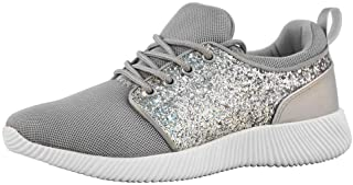 ROXY-ROSE Women Glitter Flyknit Knit Tennis Sneakers | Breathable Lightweight Kicks Bomb Red White Sneakers