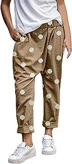 de Playa Mujer Lunares Palazzo de Pierna Ancha Casual Baggy Pantalones Harem Pantalones Fluidos Mujeres Ocasionales Verano Pantalones Vacaciones