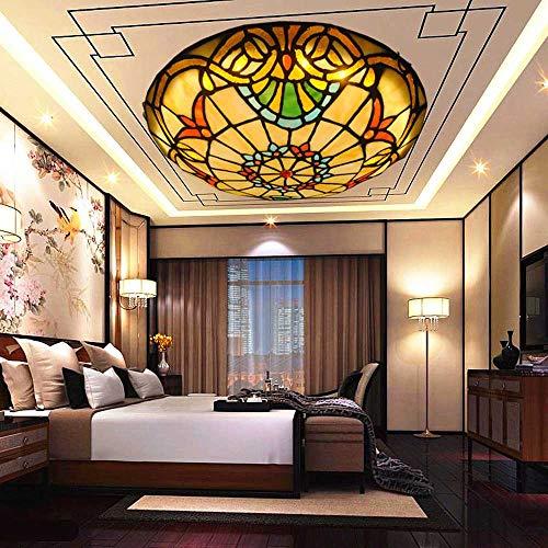 LED Deckenlampe, Tiffany-Art-Deckenleuchten, Weinlese-Barock Runde Buntglas Kronleuchter Beleuchtung Für Wohnzimmer Schlafzimmer Korridor Dekorative Leuchten,30cm