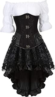 Steampunk Corset Dress 3 Piece Outfits Bustiers with Skirt and Blouse