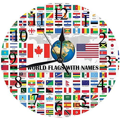 Yaoni Silencioso Wall Clock Decoración de hogar de Reloj de Redondo,Banderas, Gran colección de Banderas del Mundo con Nombres Diferentes países nacionalidades,para Hogar, Sala de Estar, el Aula