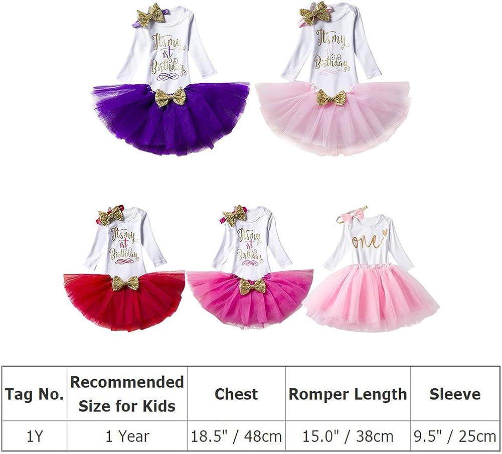 Baby Girls 1st 2nd Birthday Outfit Polka Dots Romper Tutu Skirt Mouse Ears Headband Long Sleeve Cake Smash Photo Shoot