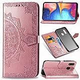 YYhin Phone Housse pour Coque Samsung Galaxy A20e / SM-A202F, Housse en Cuir Mandala en Relief,...