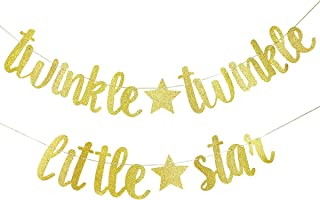 Twinkle Twinkle Little Star Banner- Birthday Party Baby Shower Party Decorations (Gold)