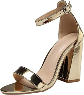 d4f16b5183a Polwer Women s Chunky Block High Heels Ankle Strap Pumps Open Toe Dress  Sandals