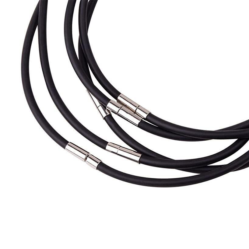 Pandahall 5 Strands 18.11 Inches 4mm Black Rubber Necklace Jewelry Making, with Platinum Color Brass Box Clasps